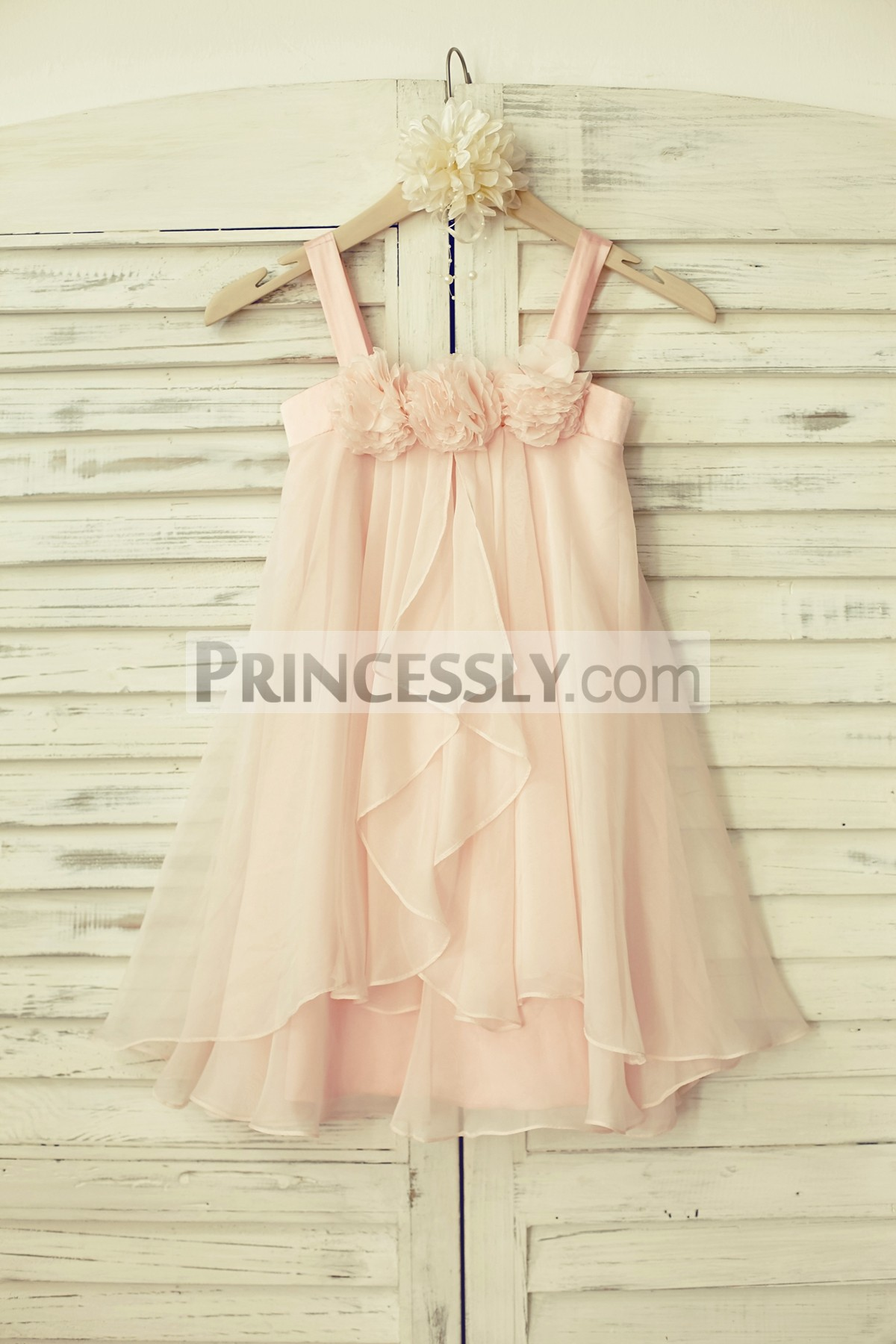 Boho Blush Pink Chiffon Thin Straps Flowers Overlay Flower Girl Dress