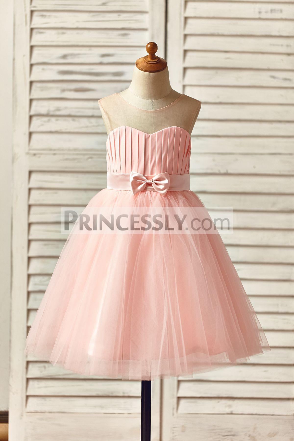 Sheer Neck Sweetheart Pink Chiffon Tulle TUTU Skirt Flower Girl Dress