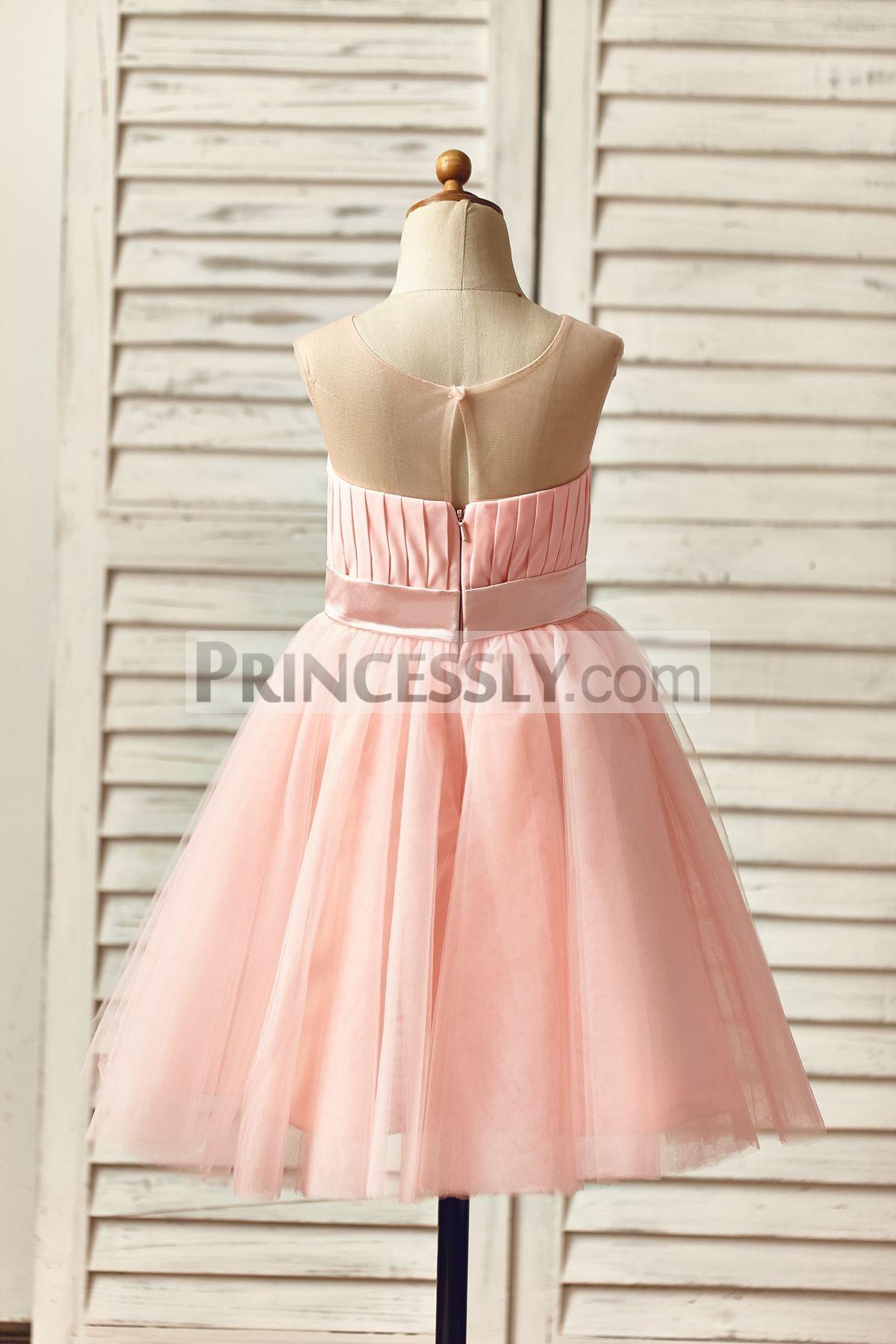 Pink Chiffon Tulle Skirt Satin Sash Princess Little Baby Girl Dress