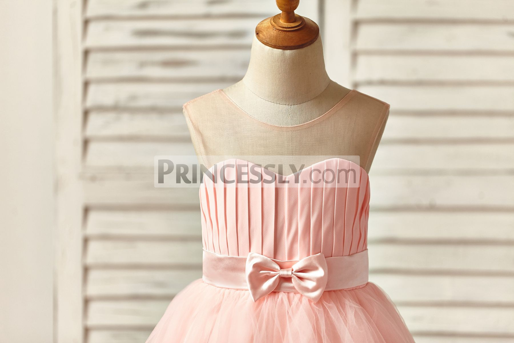 Pink Sheer Neck Pleated Bodice with Sash and Bow