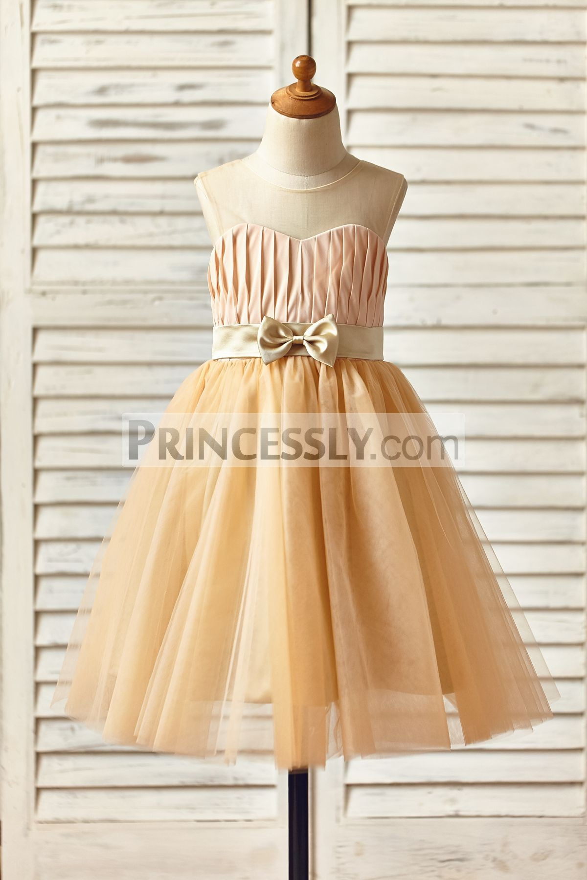 Sheer Neck Champagne Chiffon Pleated Satin Sash Bow Tulle TUTU Flower Girl Dress