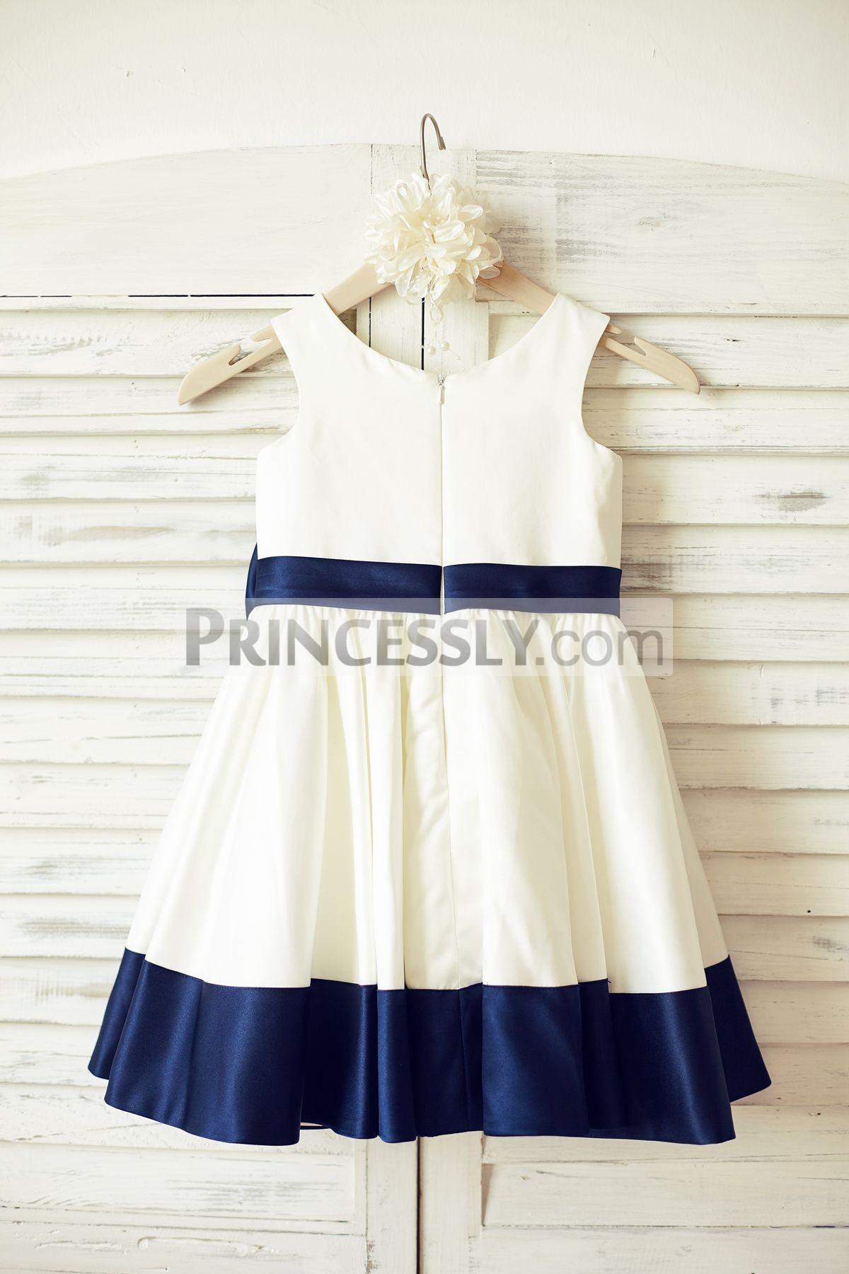 Box-pleated Skirt Satin Wedding Baby Girl Dress