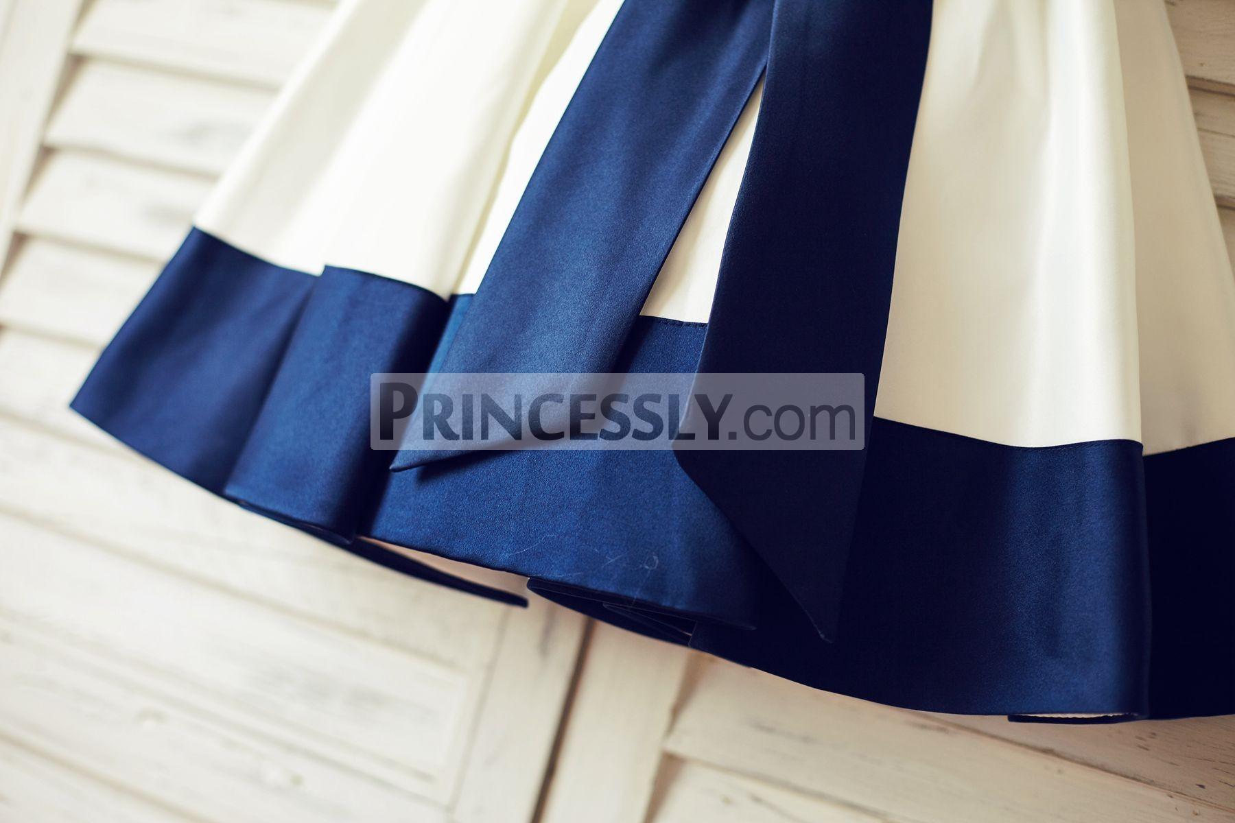 Navy Blue Satin Stripe Hem