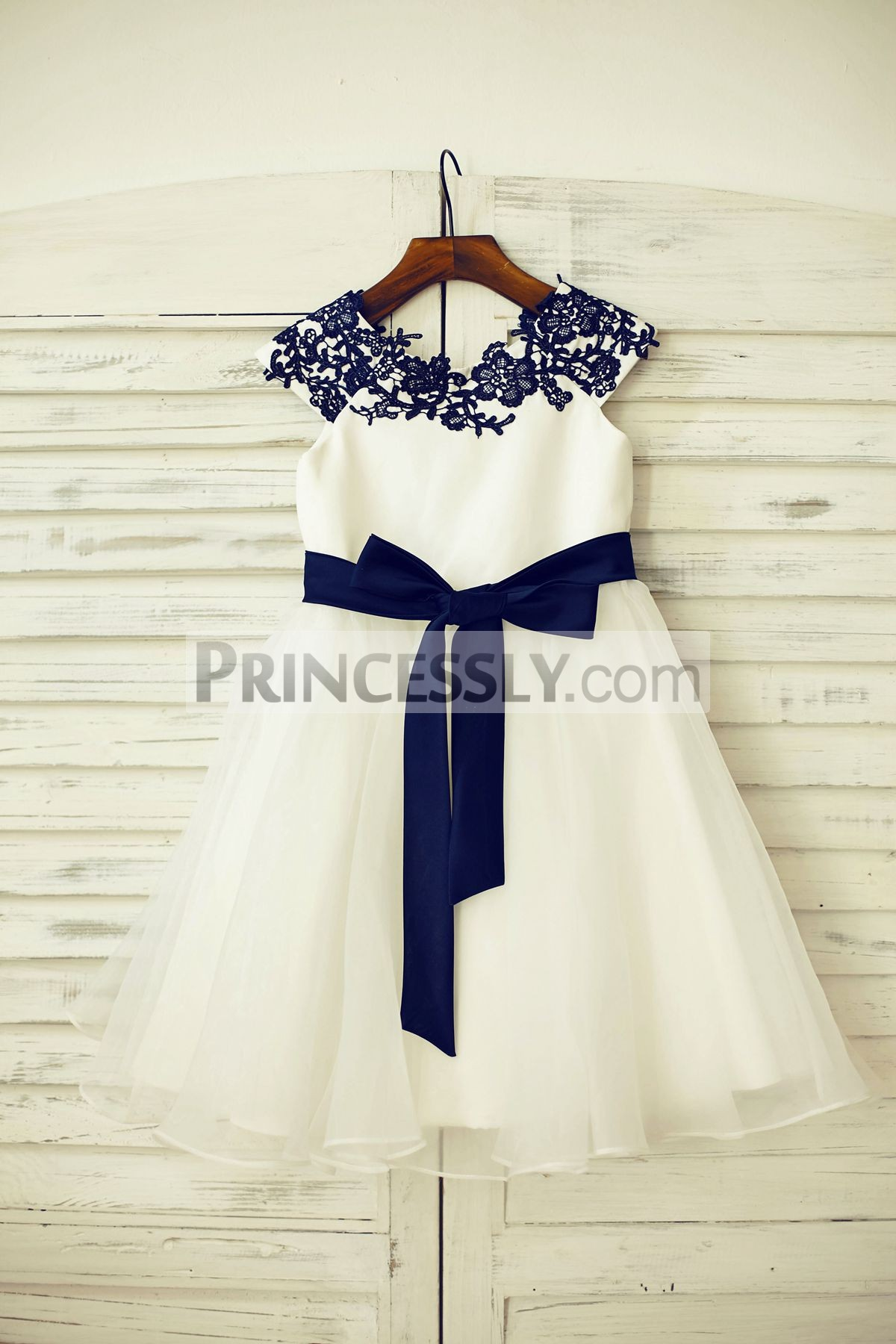 Navy Blue Lace Satin Organza Flower Girl Dress with Sash