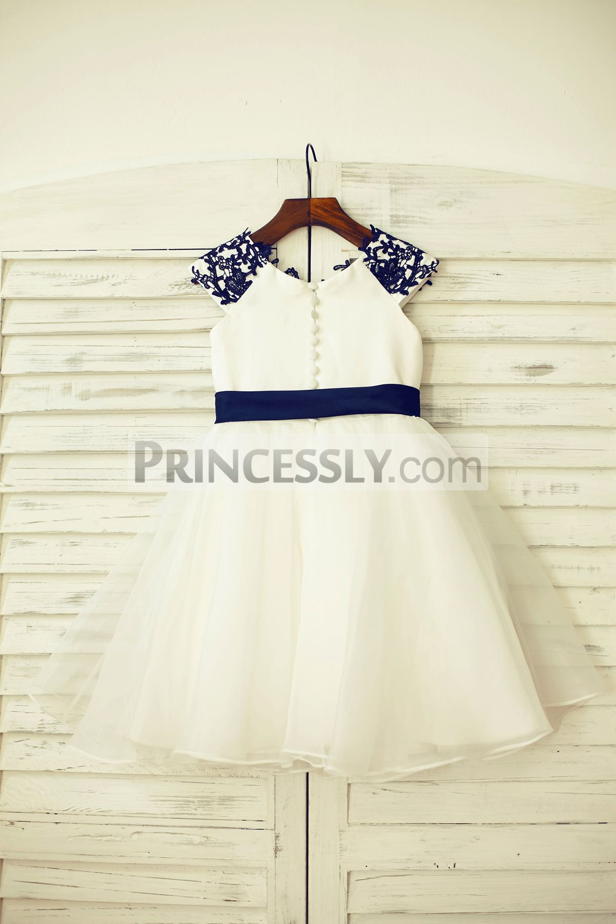 Ivory Satin Bodice and Organza Wedding Baby Girl Dress