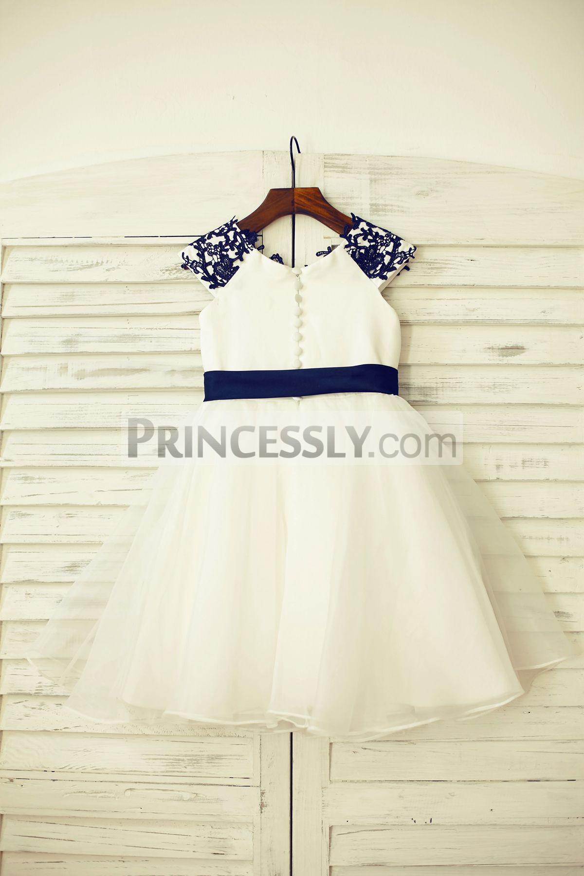 Ivory Satin Bodice and Organza Wedding Baby Girl Dress