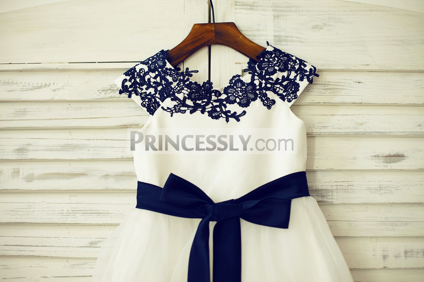 Navy Blue Lace Appliques Ivory Satin Organza Flower Girl