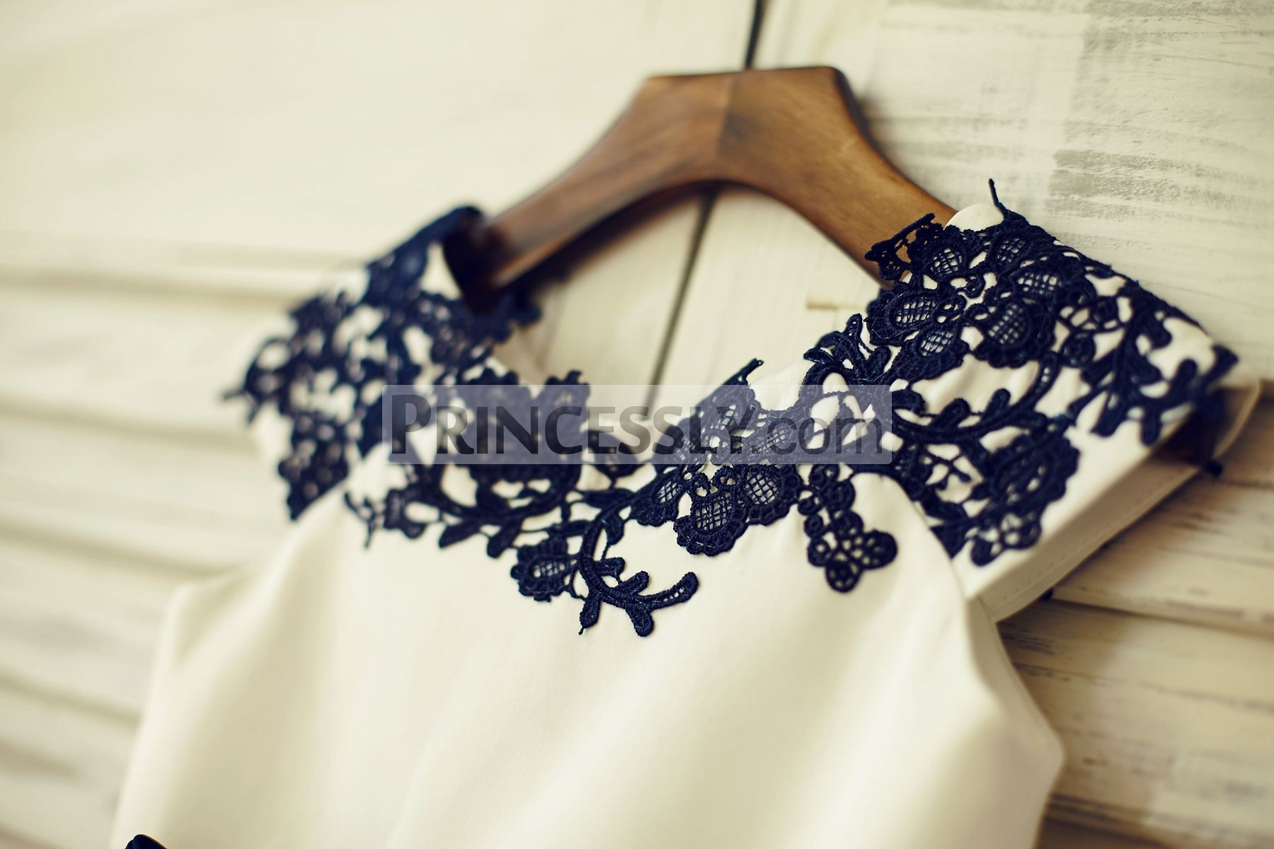 Navy Blue Lace Appliques on Neckline and Cap Sleeves