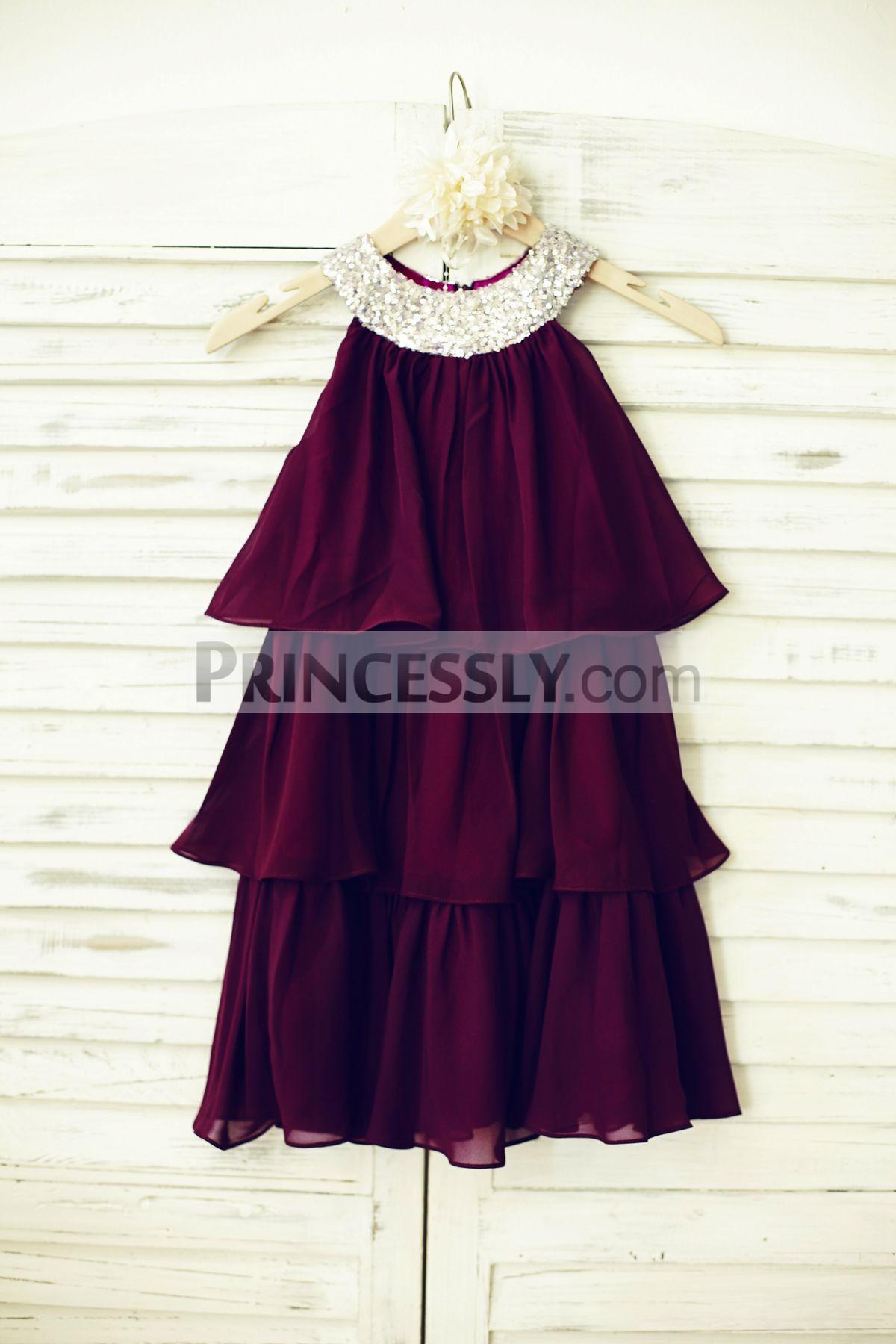 Boho Silver Sequins Purple Plum Chiffon Cupcake Flower Girl Dress