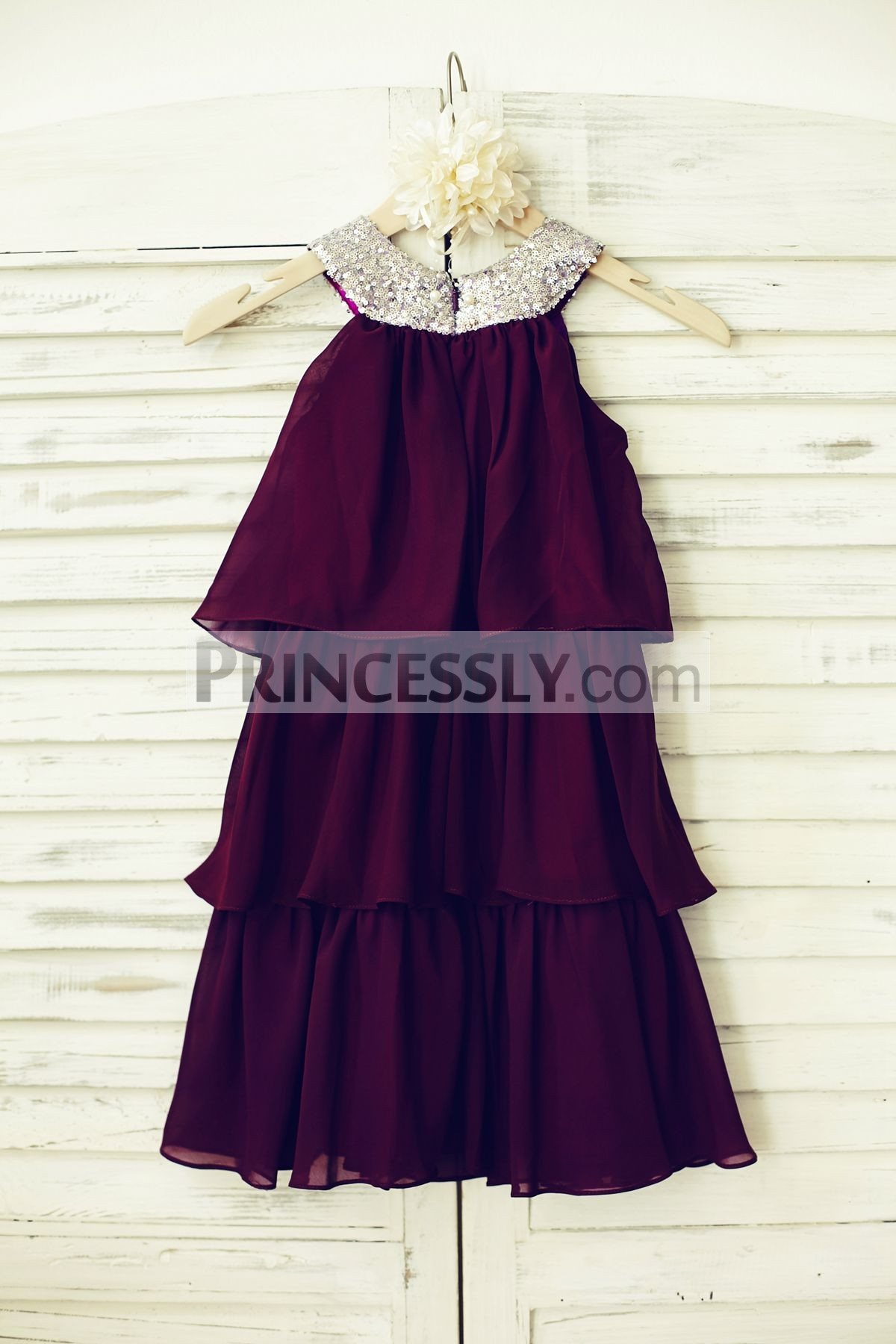 Round Neckline Sleeveless Three Layers Cupcake Wedding Baby Girl Dress