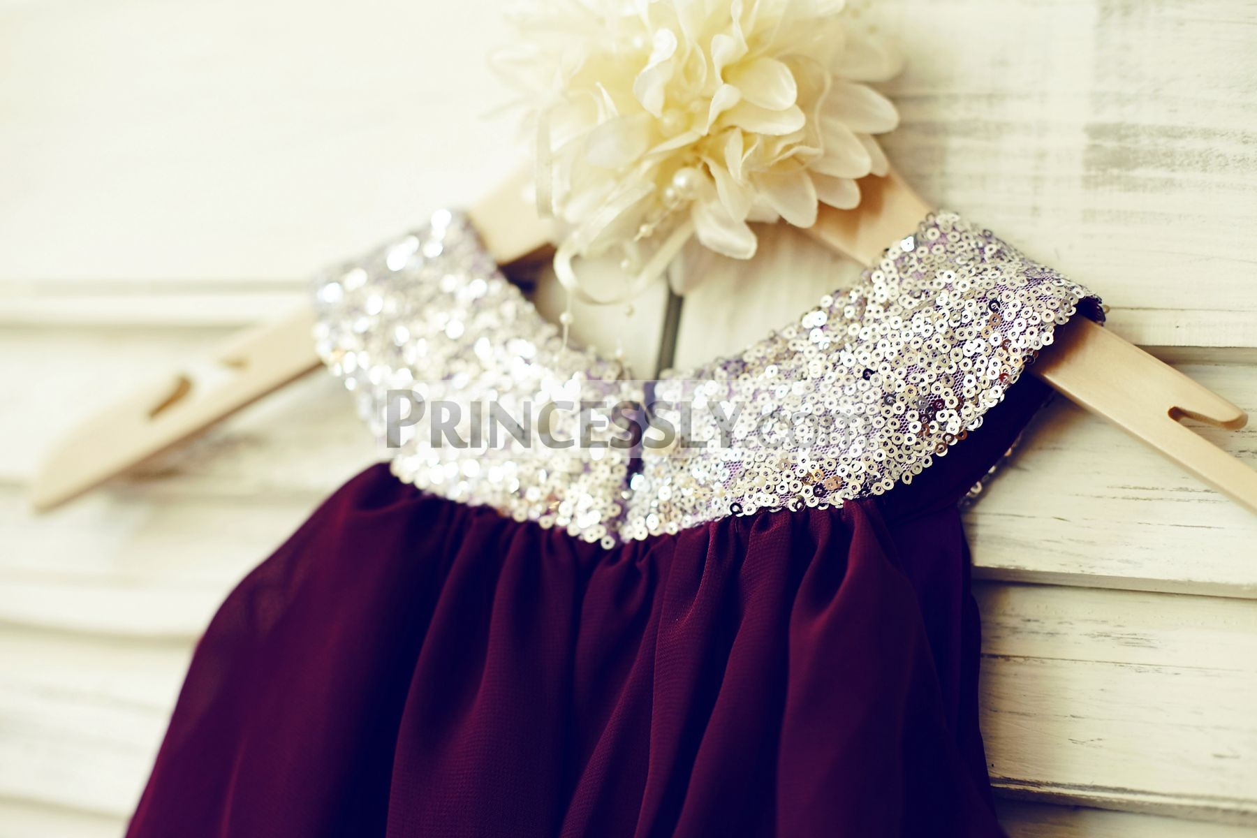 c89a605f7a8 Boho Silver Sequins Cupcake Purple Plum Chiffon Flower Girl Dress ...