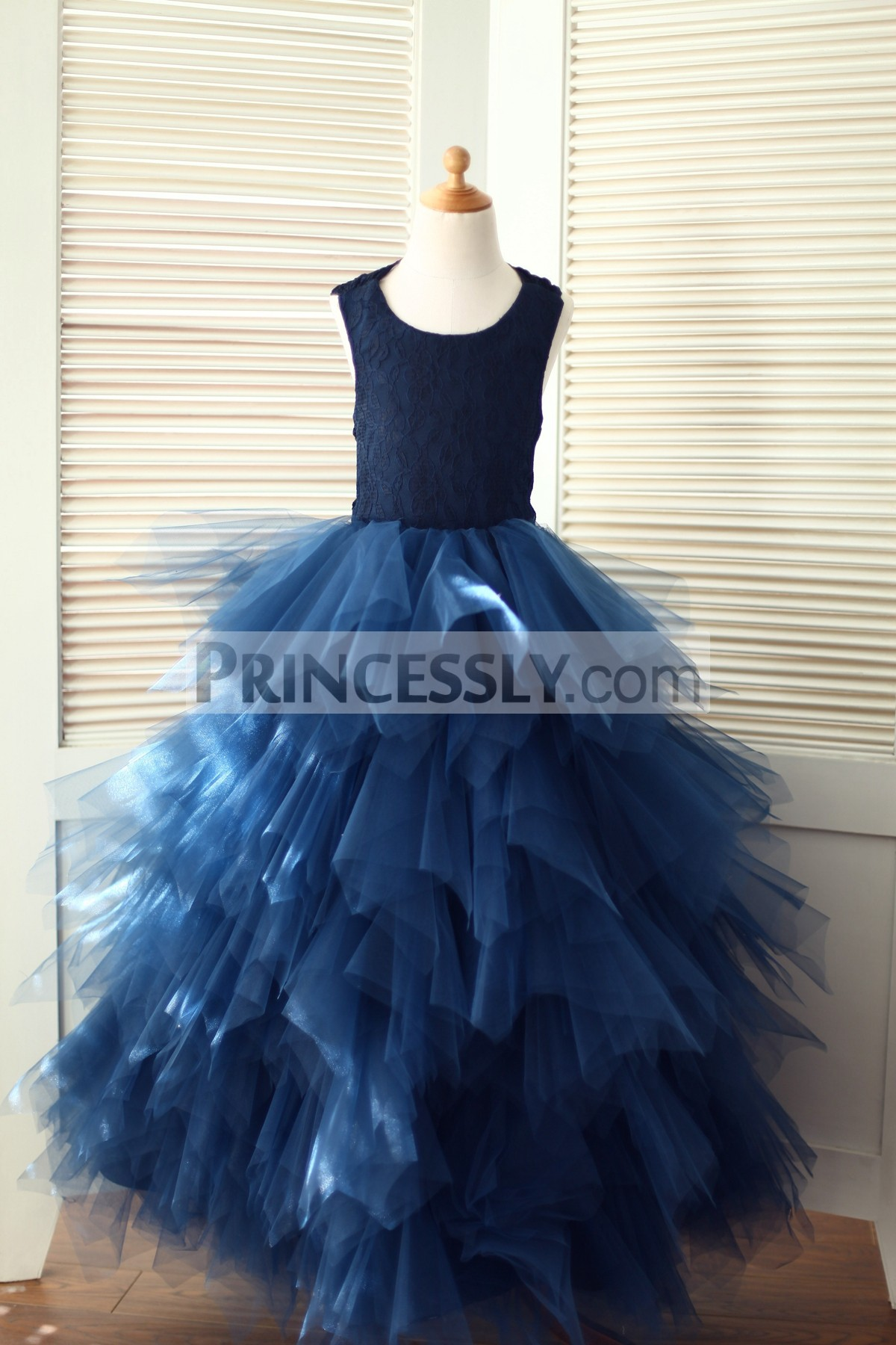 Navy Blue Lace Feathered Tulle Wedding Flower Girl Dress