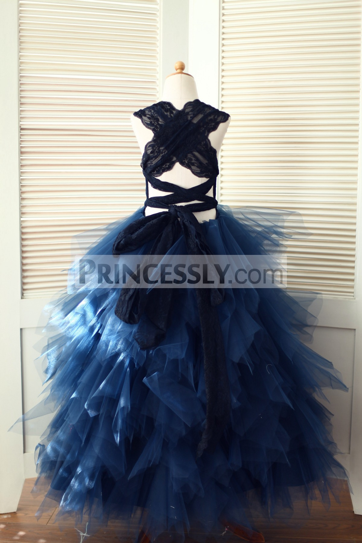 Lace Cross Back Feathered Tulle Ball Gown Long Skirt