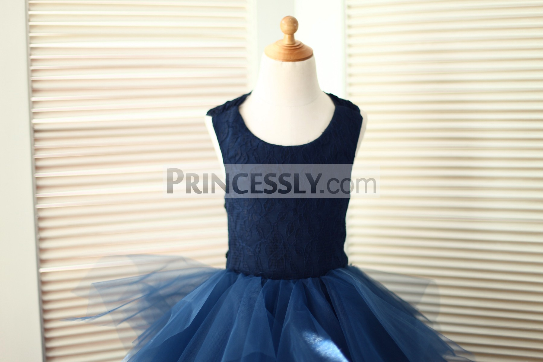 Navy Blue Lace Bodice with Scoop Neckline and Sleeveless