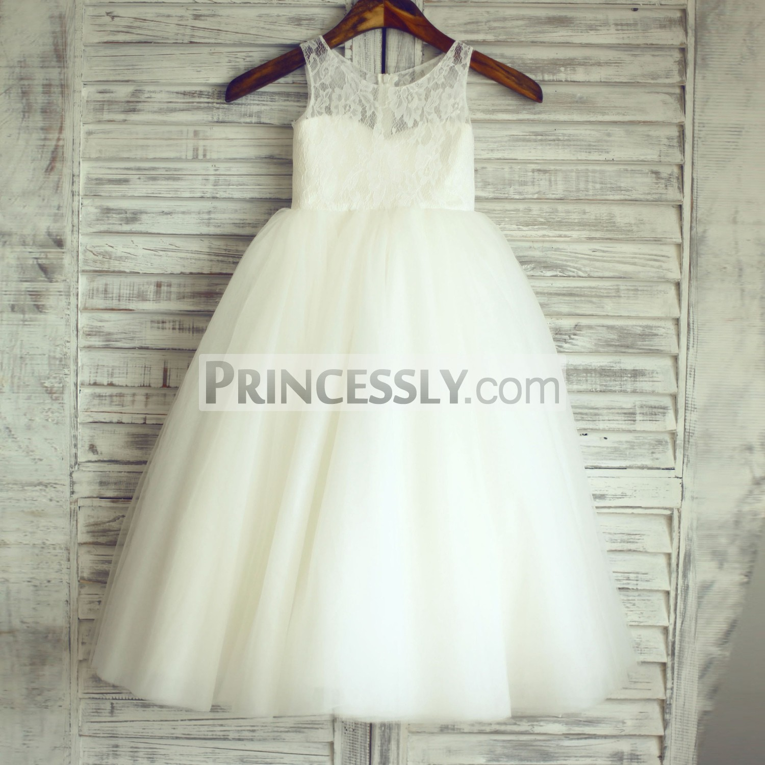 Ivory Lace Tulle Tutu Ball Gown Princess Wedding Flower