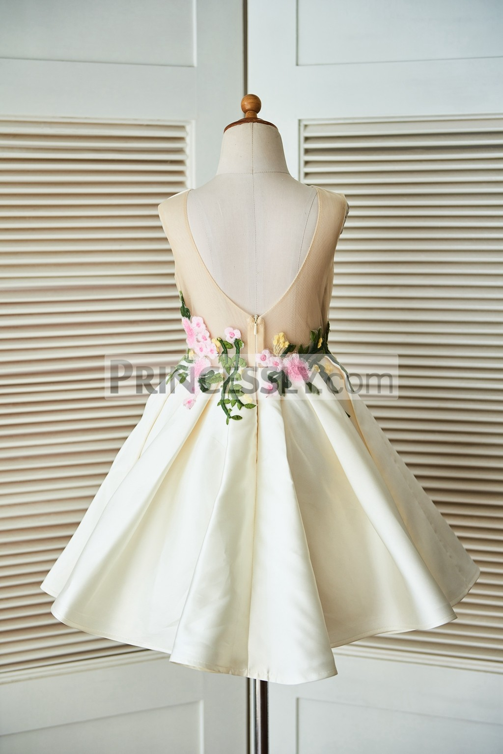 Open V Back Pleated A-line Skirt Wedding Baby Girl Dress