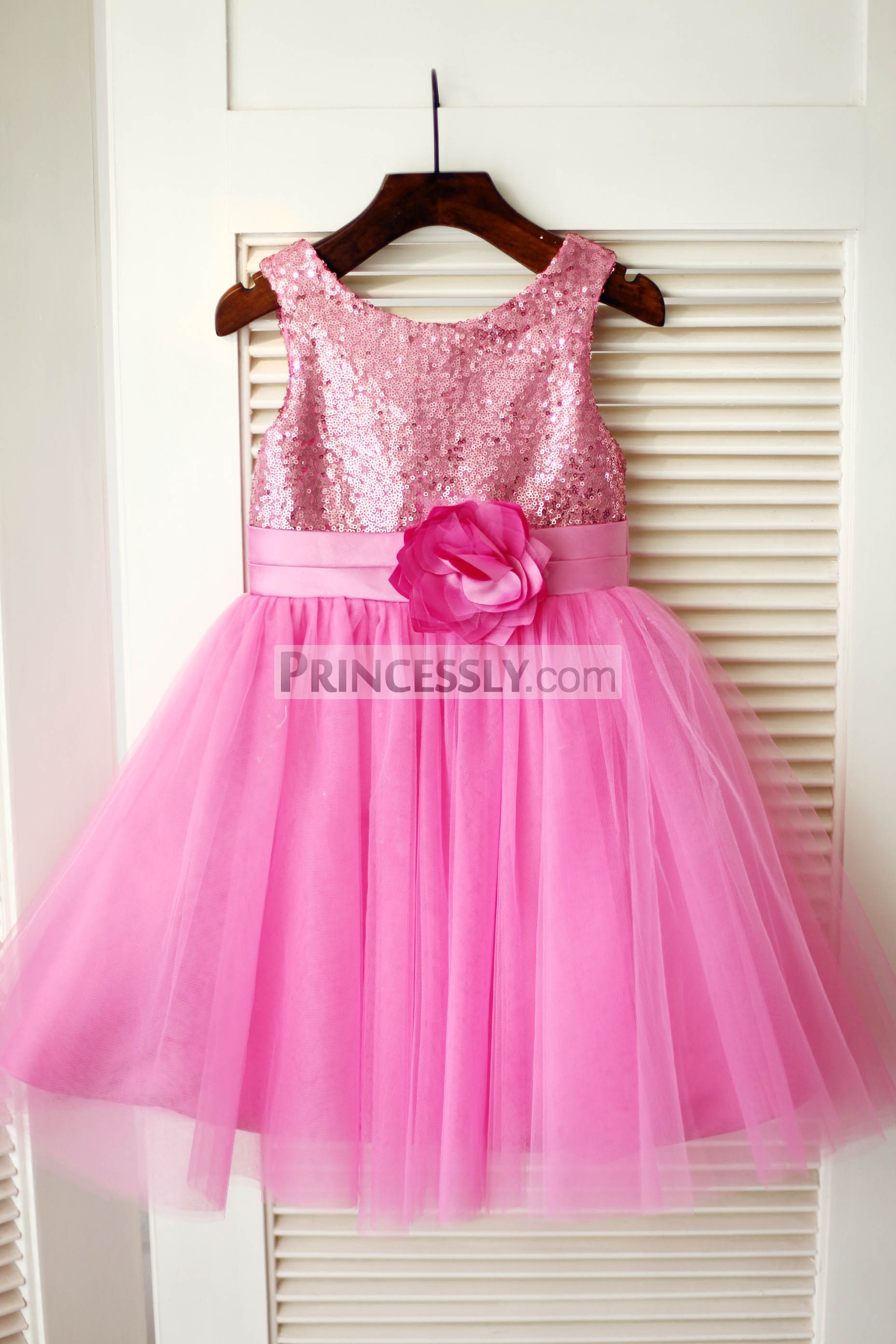 Hot Pink Sequins Pleated A-line Tulle Wedding Flower Girl Dress