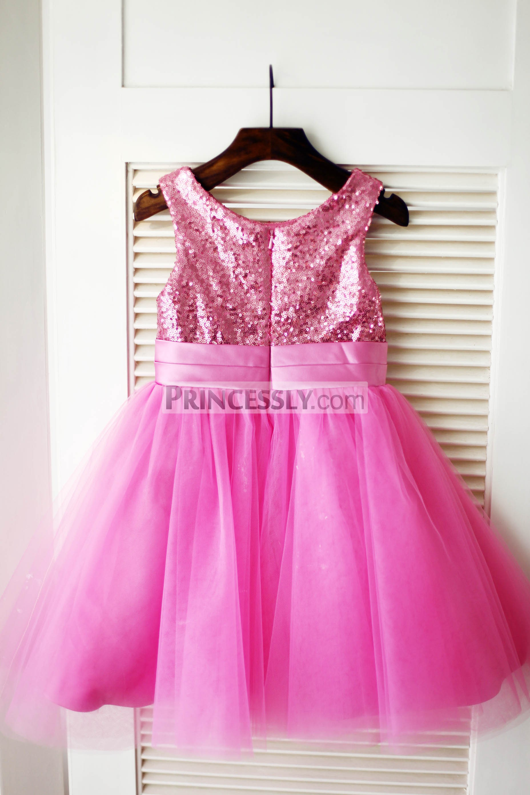 Hot Pink Sequins Tulle Fully Lined Wedding Baby Girl Dress