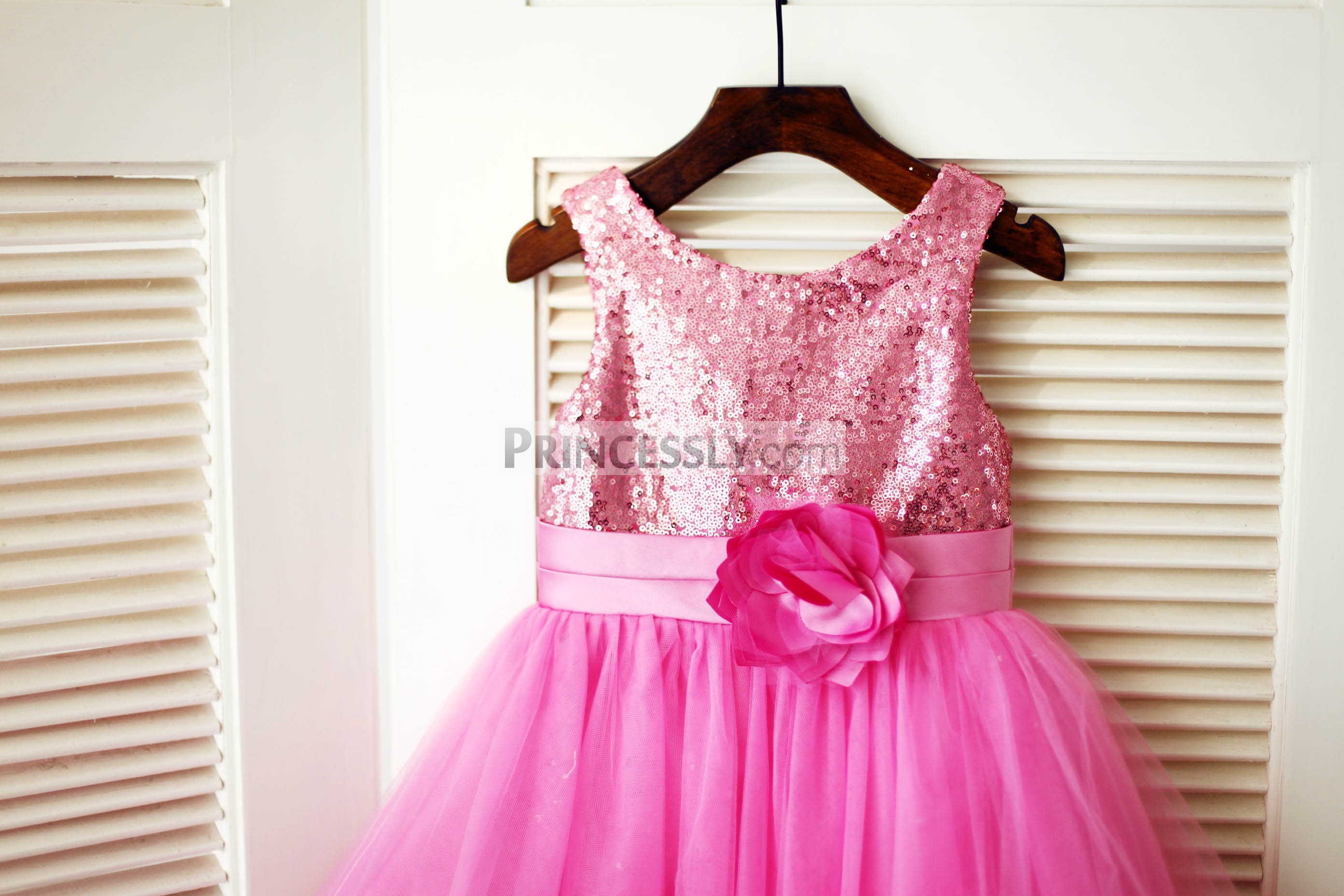 Bling Sequin Bodice with Pleated Satin Belt and a Flower