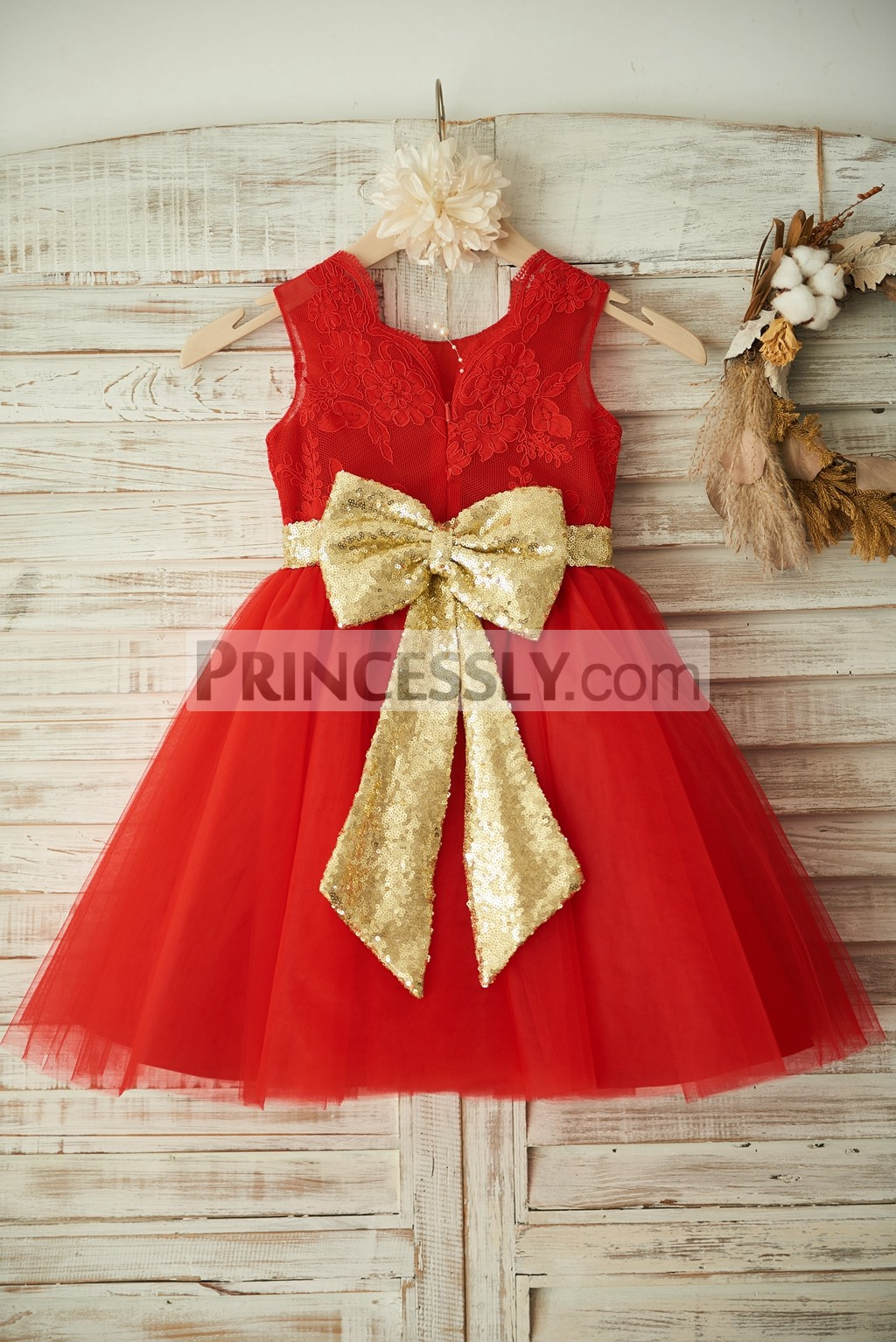 Red Lace TUTU Tulle Wedding Flower Girl Dress with Gold Sequins Bow