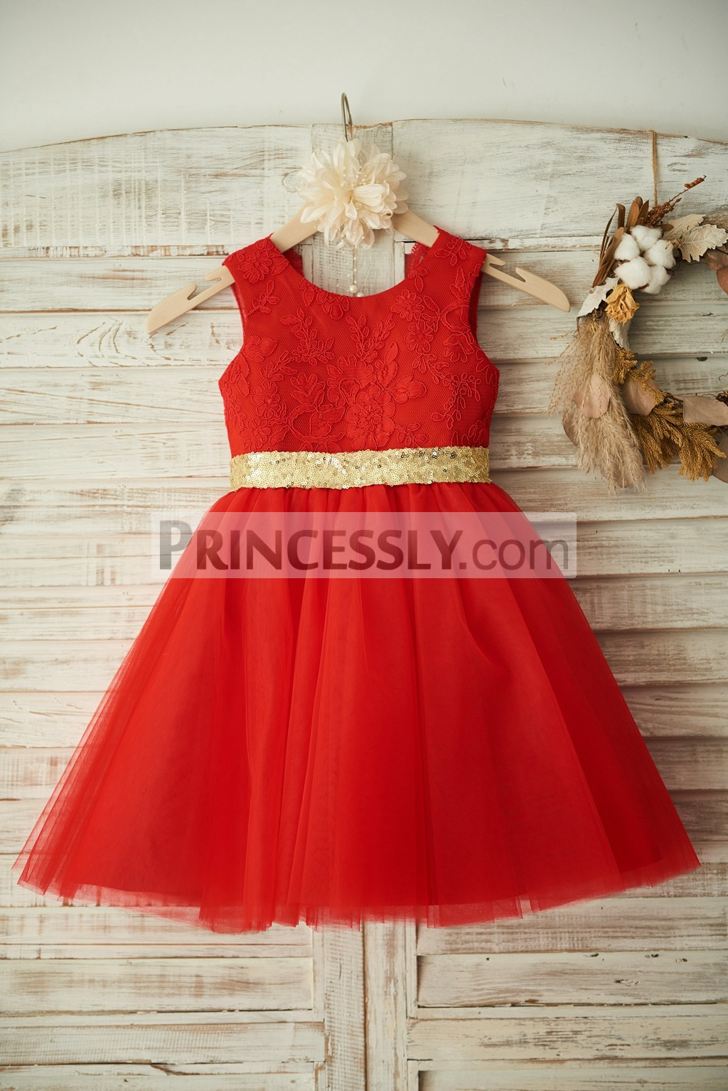 Delicate Floral Lace Pattern Fully Lined TUTU Princess Little Girl Dress