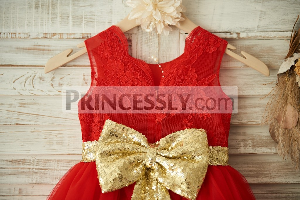 Red Lace Tulle Gold Sequin BeltBow Wedding Flower Girl Dress Christmas Party Dress