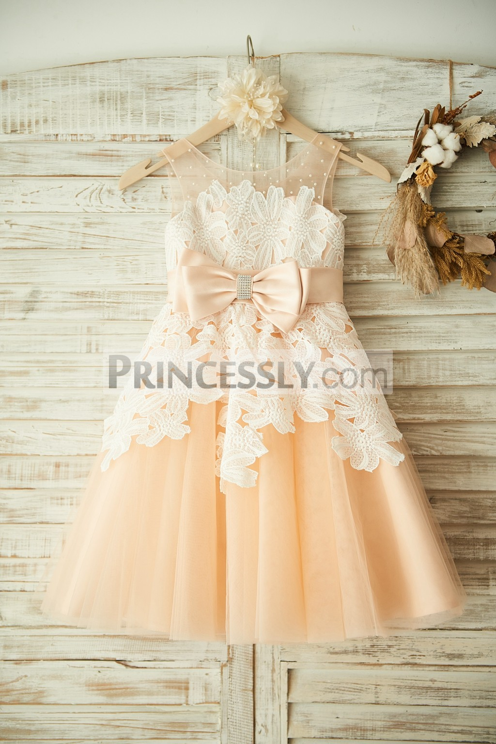 Ivory Floral Lace Champagne Tulle Wedding Flower Girl Dress