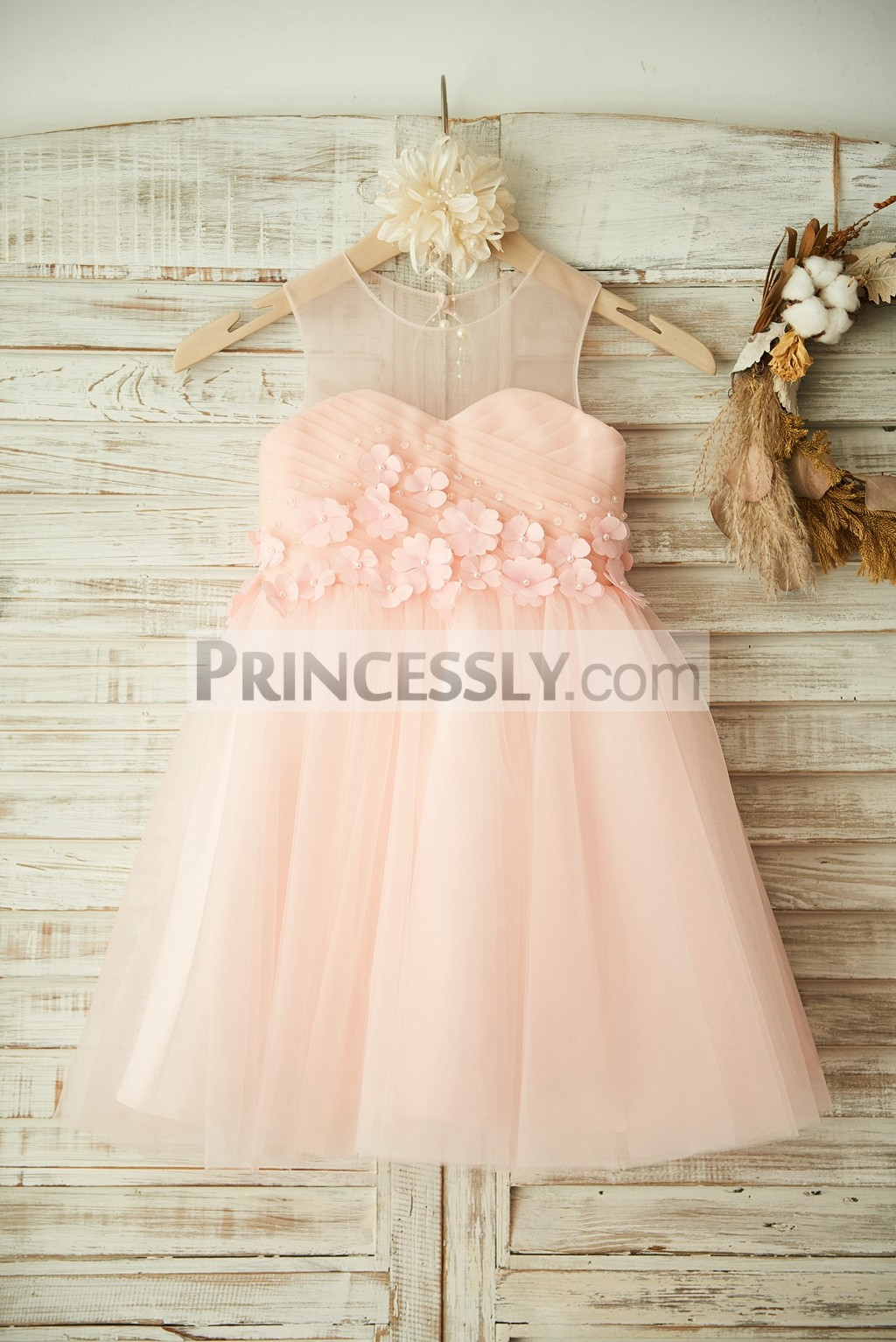 Pink Sheer Beads 3D Flowers Cross Pleated TUTU Tulle Wedding Flower Girl Dress
