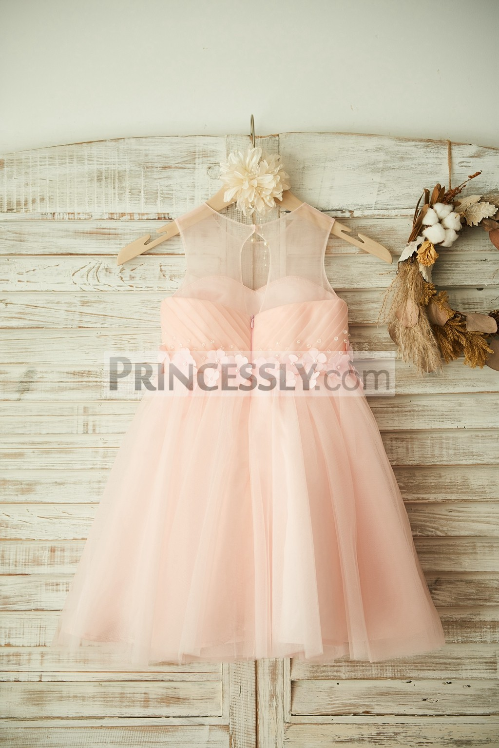 Sheer Top Pink Tulle Little Baby Girl Dress