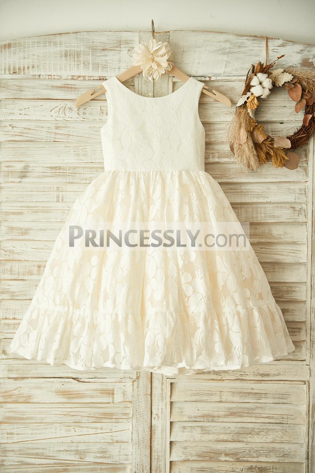 Ivory Lace Leave Pattern Wedding Flower Girl Dress