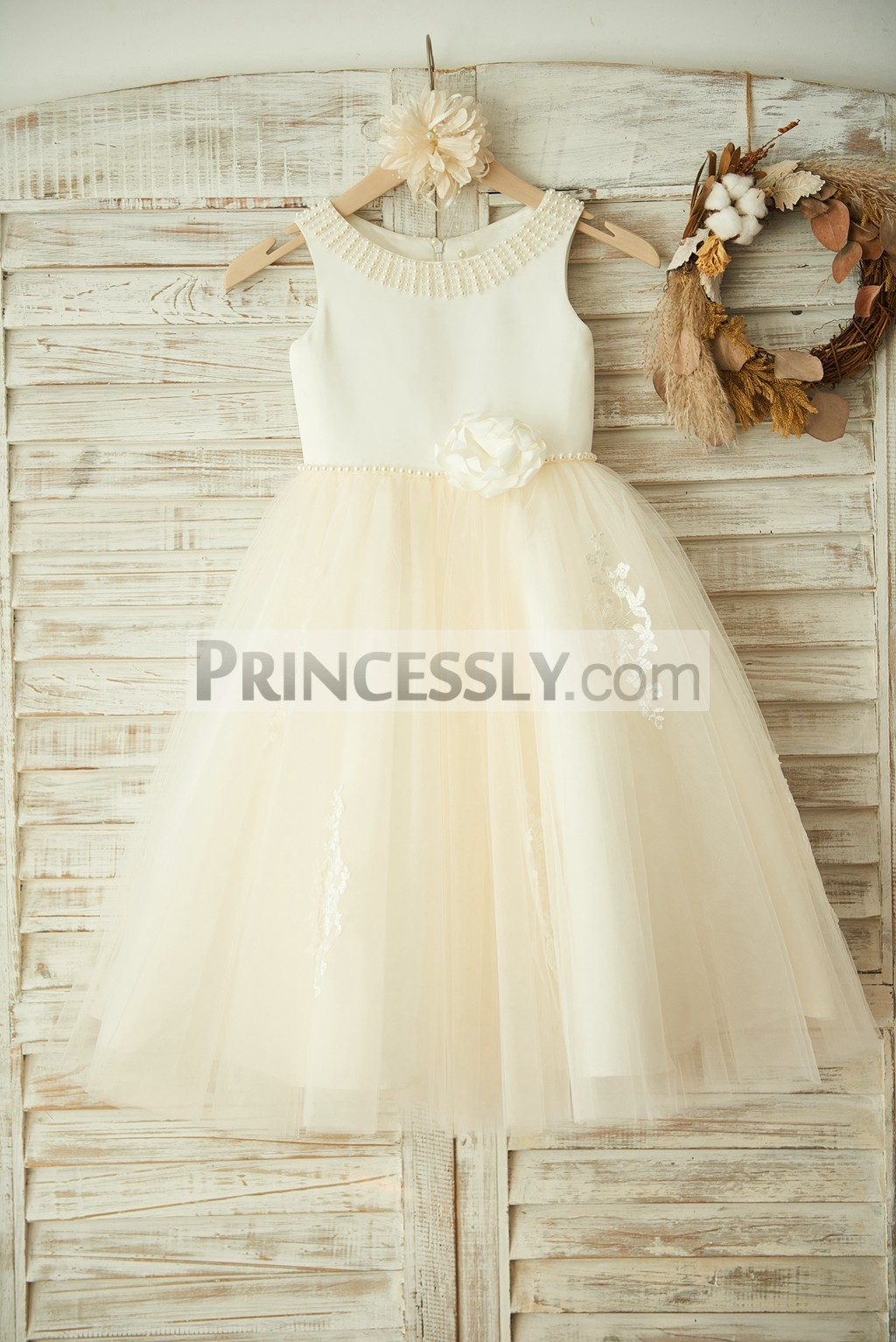 Pearls Flower Ivory Satin Tulle Flower Girl Dress with Lace Appliques