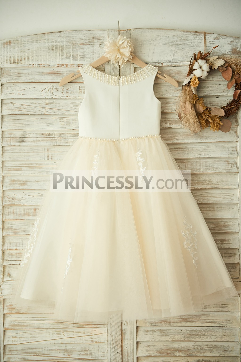 Pearls Neckline & Waistline Satin Tulle Wedding Little Baby Girl Dress