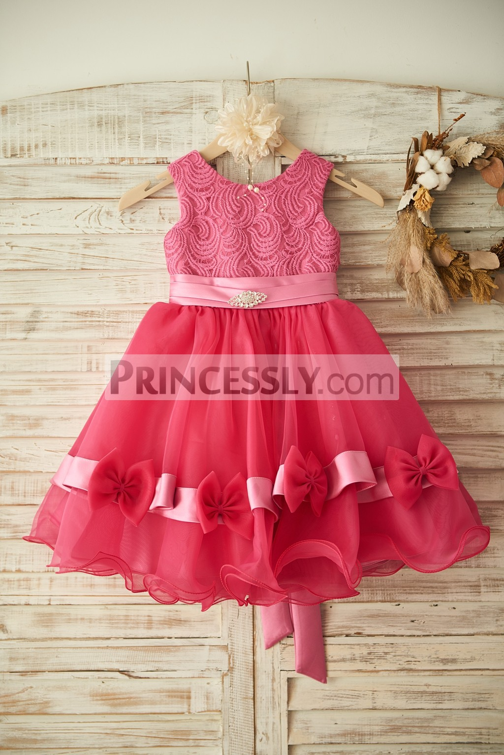 Fuschia Lace Organza Princess Flower Girl Dress with Sash & Bows