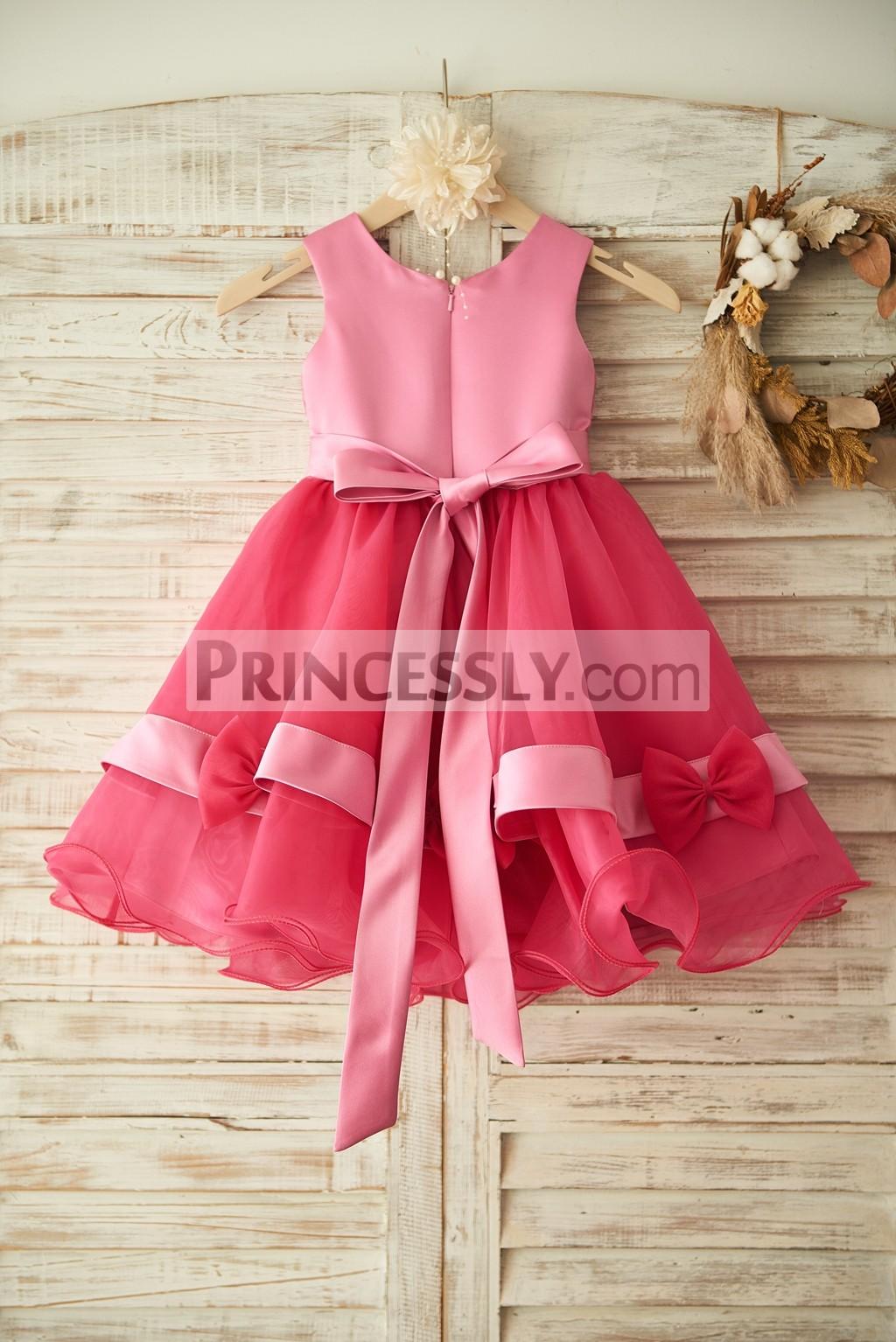 Fuschia Lace Organza Princess Flower Girl Dress With Belt