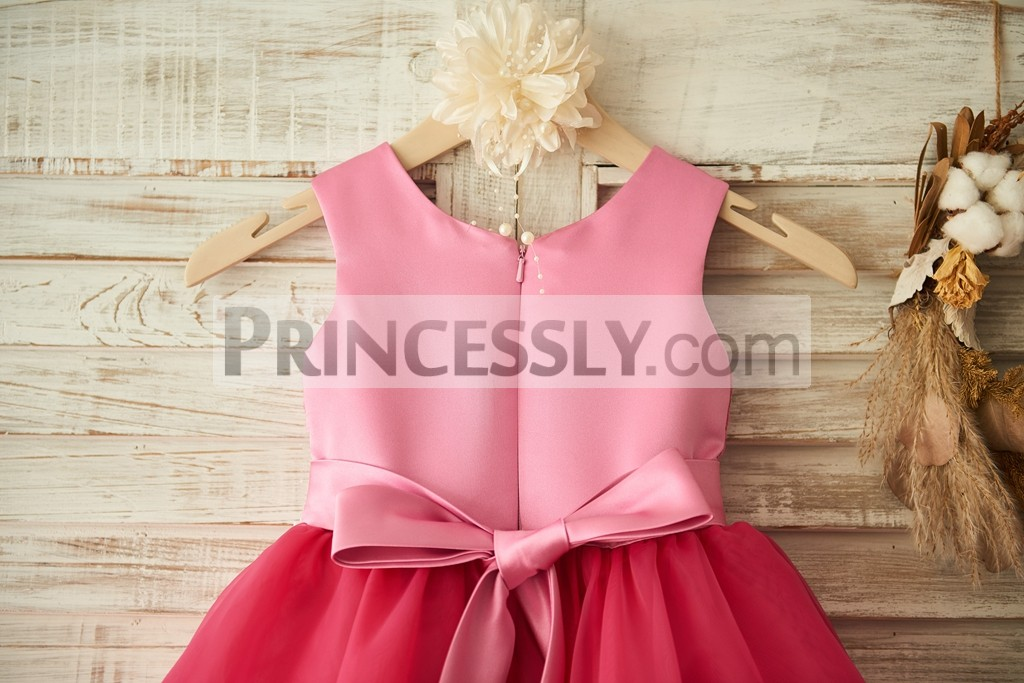 1d766ee1bc1b Fuschia Lace Organza Princess Flower Girl Dress with Belt   Bows ...