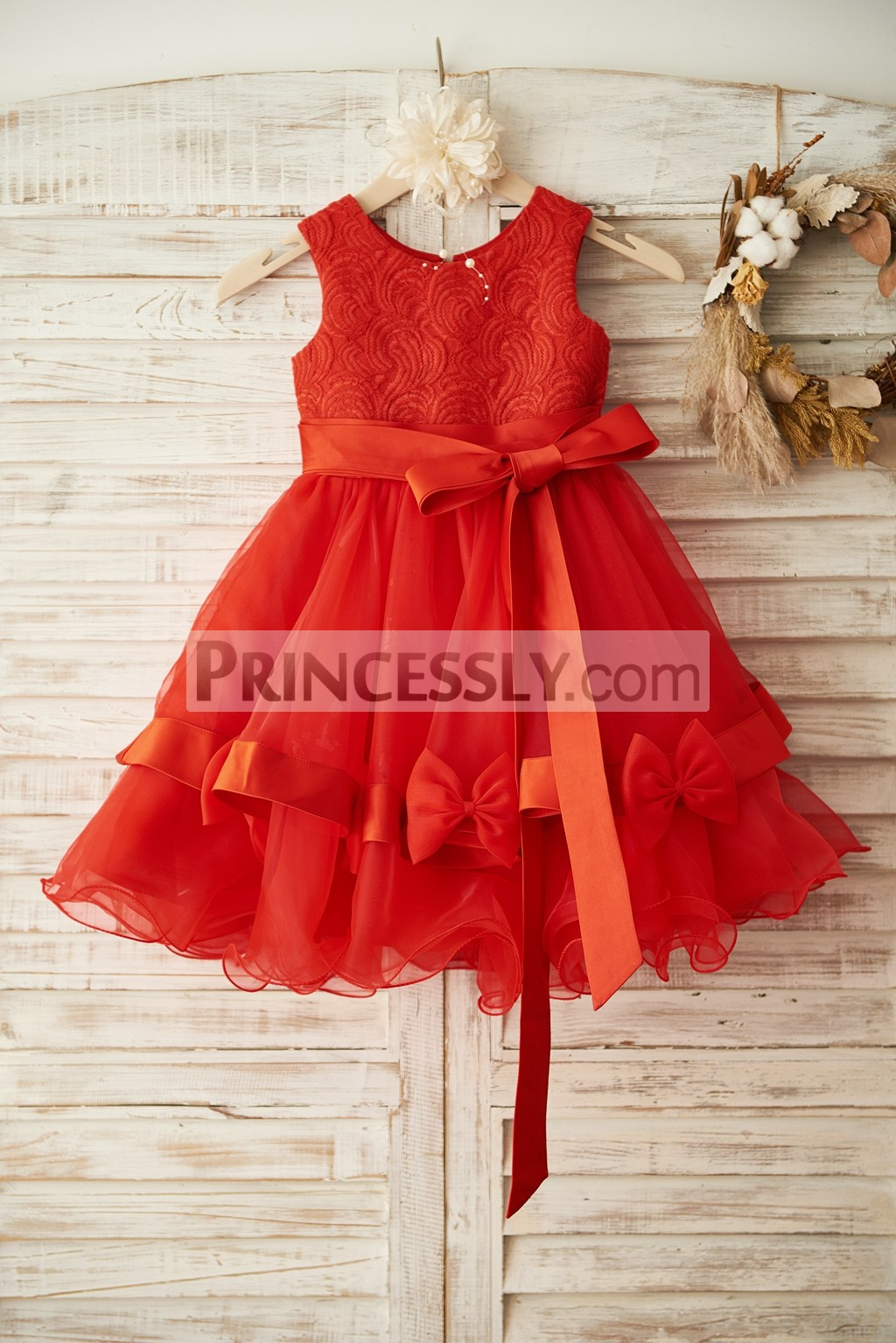 Red Lace Organza Wedding Flower Girl Dress with Bows