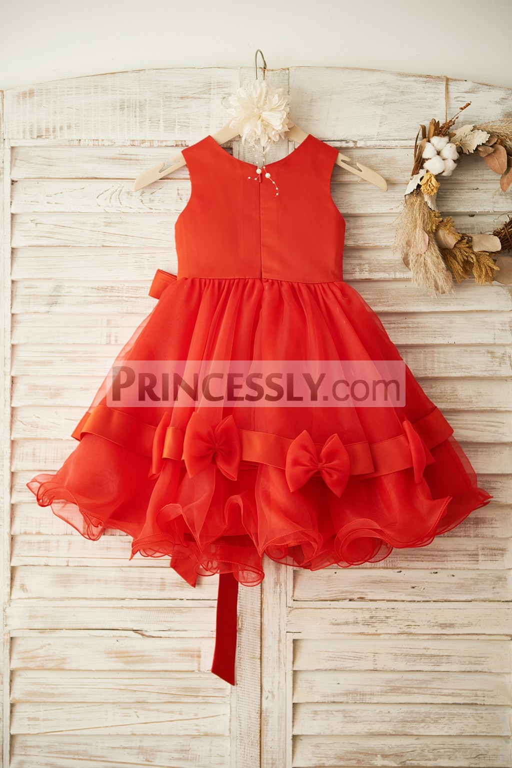 Panel Back of Bodice Ruffles Organza Skirt Wedding Baby Little Girl Dress