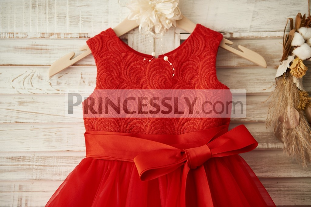 Scale Pattern Lace Bodice with Attachable Sash Belt