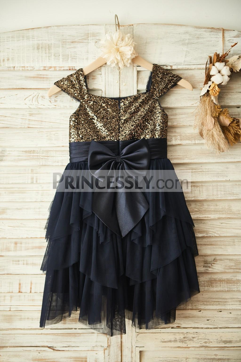 A Big Bow at Hidden Zippered Back of Tiered Ruffles Wedding Little Girl Dress