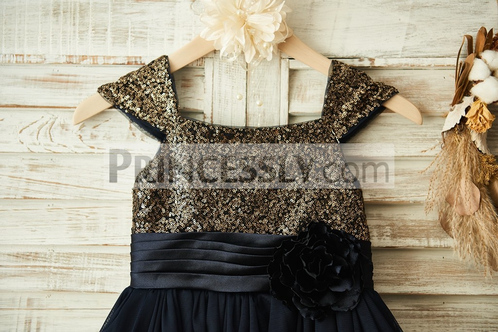 Gold Sequined Square Neckline Bodice with Black Pleated Waistband & Flower