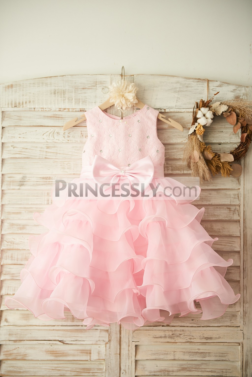 Crystals Pink Lace Tiered Ruffles Organza Flower Girl Dress with Bow