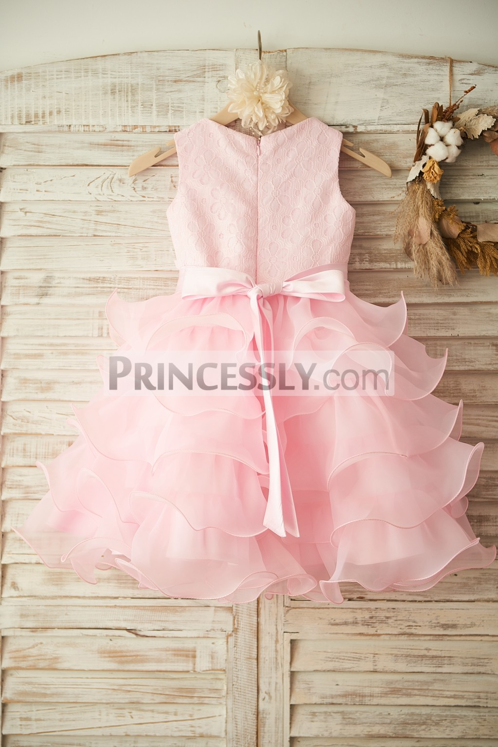 Pink Floral Lace Cupcake Skirt Wedding Baby Girl Dress