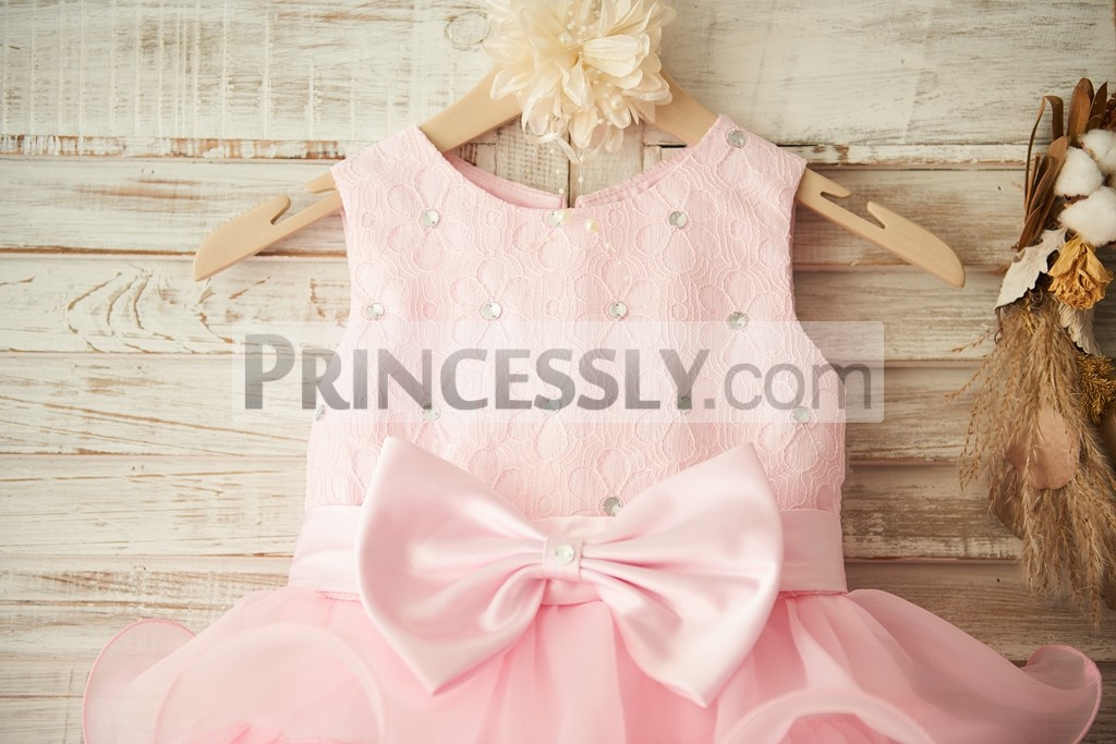Pink Floral Lace Bodice with sash / bow / crystals