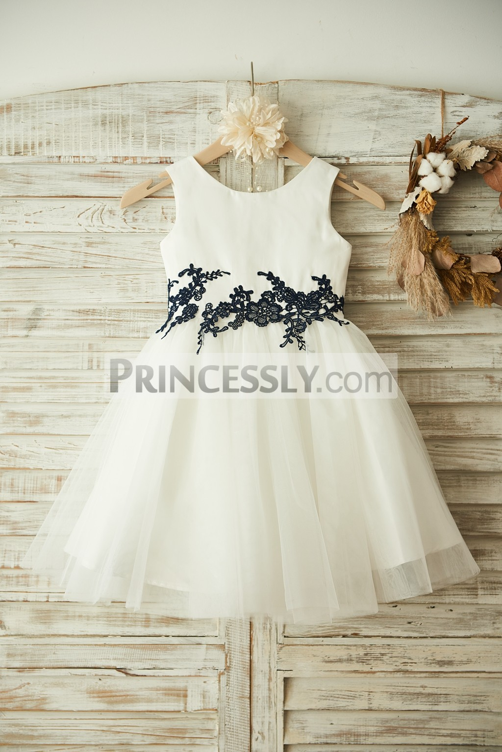 Ivory Satin Tulle Navy Blue Lace Appliques Wedding Flower Girl Dress
