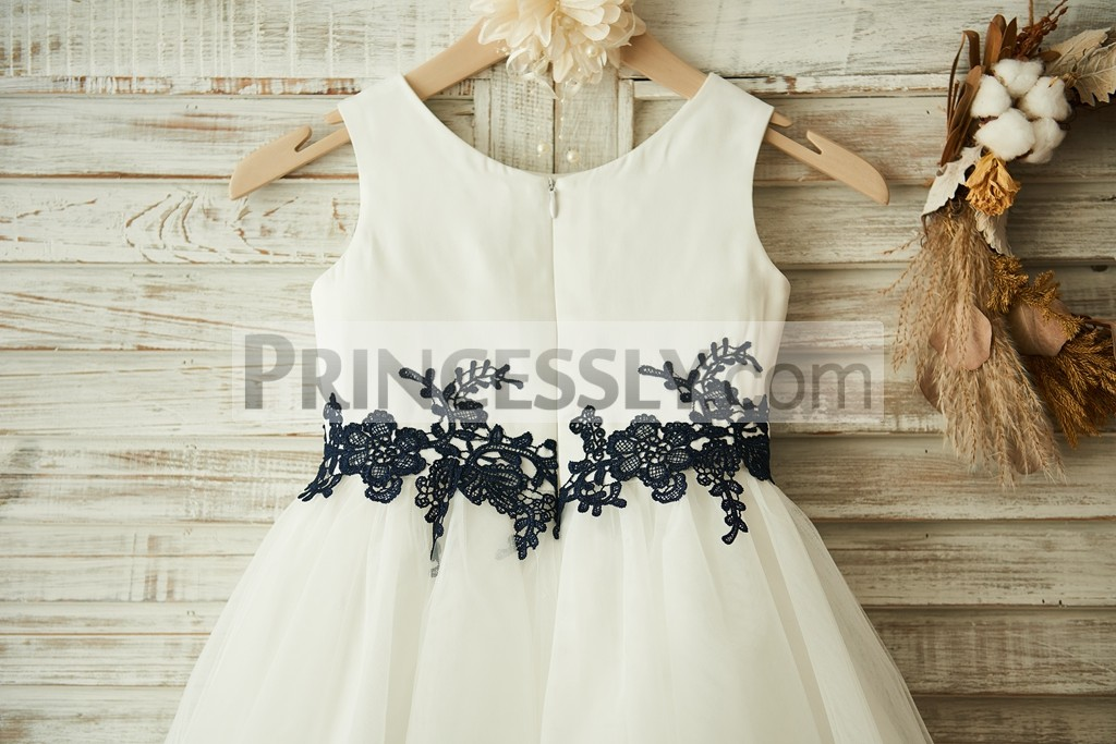 Navy Blue Lace Appliques around Waistline