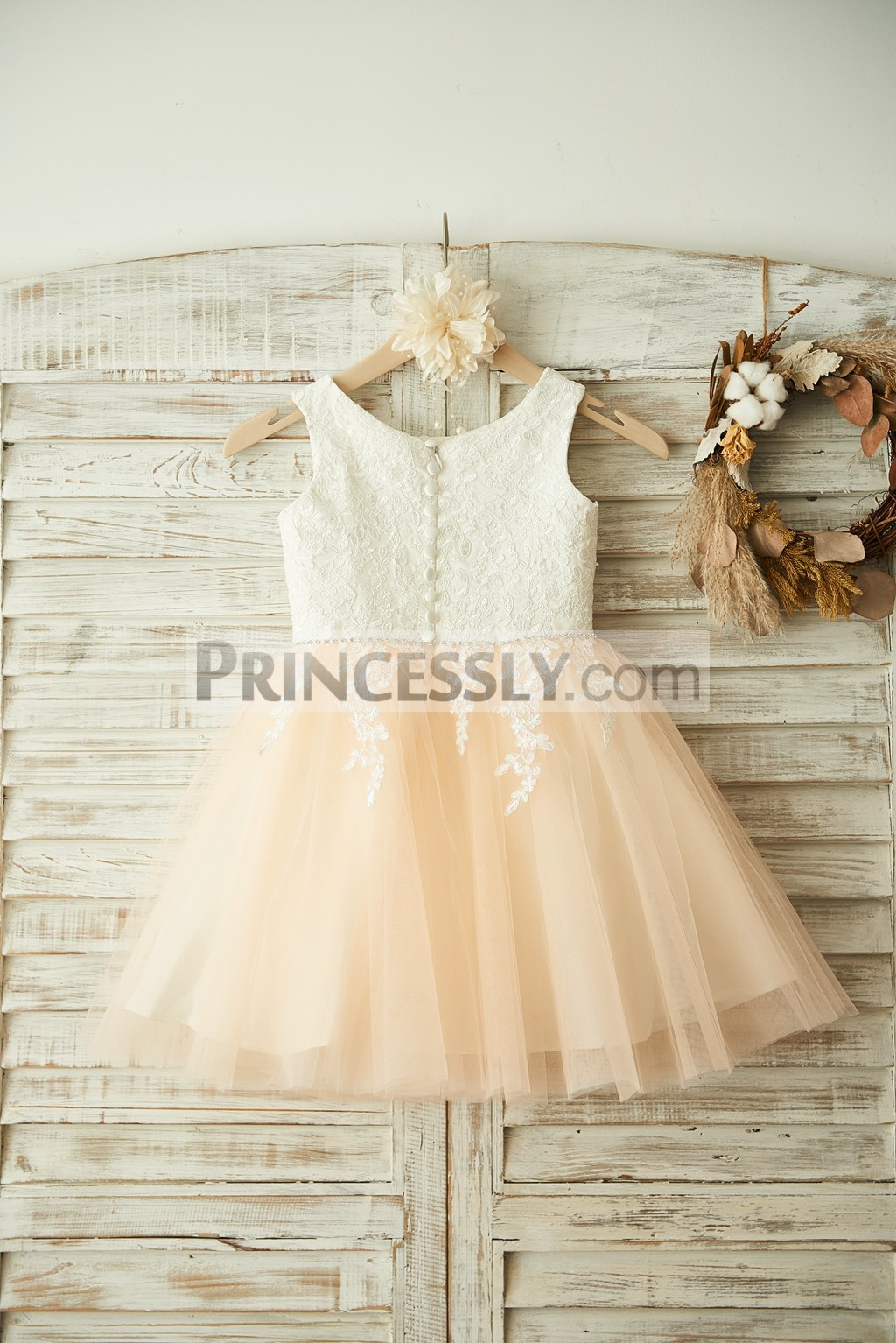 Ivory Floral Lace Appliques Satin Bodice Tulle Skirt Wedding Baby Girl Dress