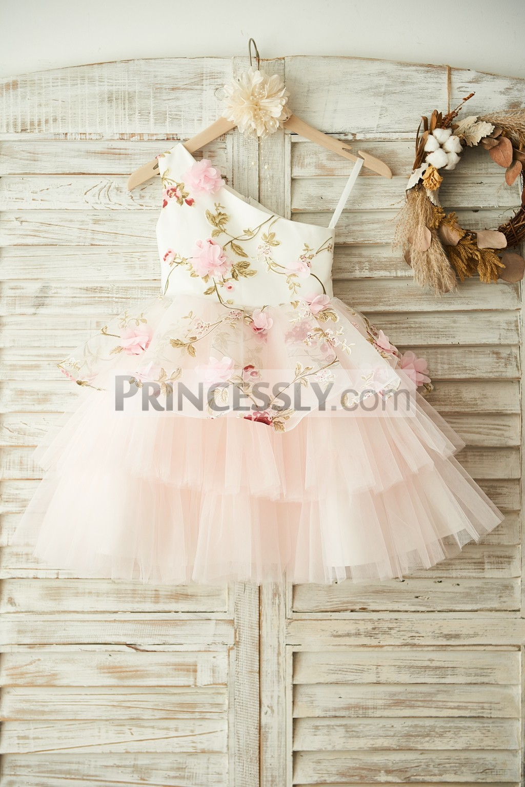 Single Shoulder Floral Organza Tulle Cupcake Wedding Baby Girl Dress