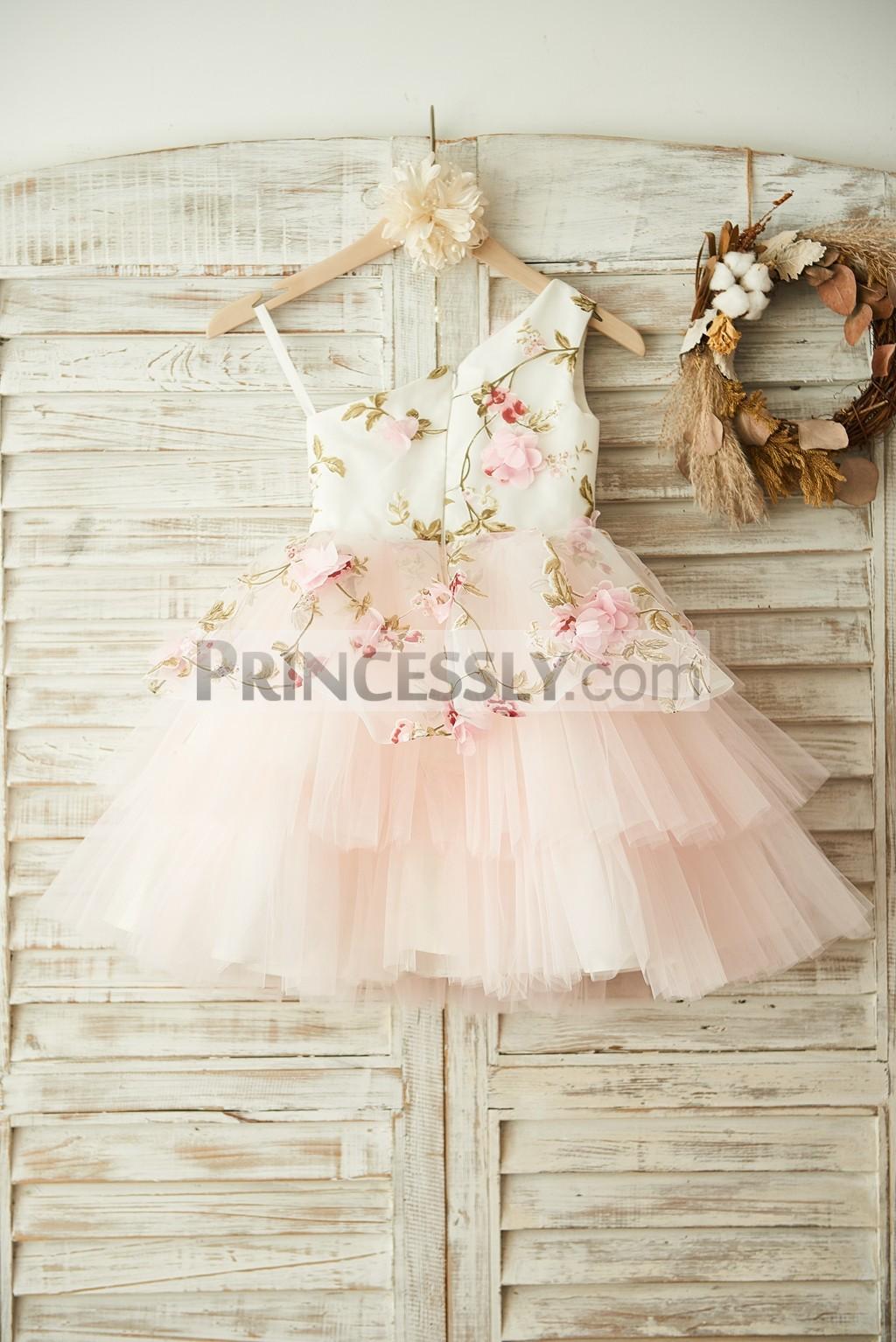 3D Flowers Pink Tulle Cupcake Skirt Wedding Little Girl Dress