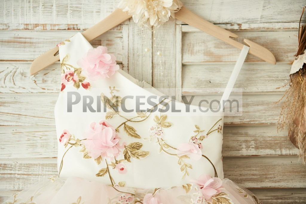 One Shoulder Floral Organza Bodice with 3D Pink Flowers