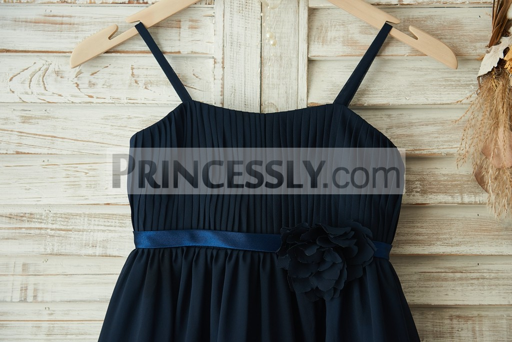 Finely Pleated Bodice with Thin Satin Waistband & Flower